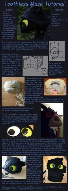 USEFUL. And they encourage others to re-create! YAY! Toothless Mask Tutorial by *aThousandPaws on deviantART