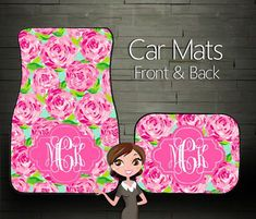 Custom Personalized & Monogrammed Car Floor Mats, Lily Pulitzer inspired from Boutique Monogram. Car Mats, Car Floor Mats, Lilly Pulitzer, Preppy Girl, Girly Girl, Cute Cars, Everything Pink, Monogram Gifts, Way Of Life