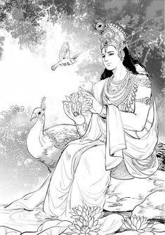 Krishna Vasudev Dancing Drawings, Music Drawings, Art Drawings For Kids, Art Drawings Sketches, Lord Ganesha Paintings, Krishna Painting, Krishna Art, Indian Drawing, Indian Comics
