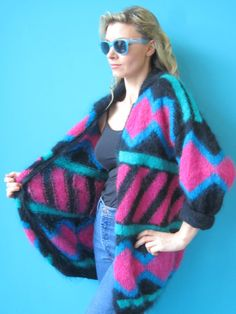 Vintage 80s Patterned Black Pink Blue & door WhiteRabbitExchange, €24.00 Pink Blue, Blue Green, Vintage Jumper, Cardigan Outfits, Fall Winter Outfits, Cardigans For Women, Plaid Scarf, My Style, How To Wear