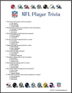 This Sports trivia covers many different sports, come prepared. - This Sports trivia covers many different sports, come prepared. Sports Trivia Games, Football Party Games, Football Trivia, Football Season, Word Search Puzzles, Word Puzzles, Super Bowl Activities, Super Bowl Party Games, Father's Day Games