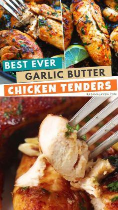 Garlic Butter Chicken, Keto Chicken, Best Chicken Tenders, Chicken Tender Recipes, Delicious Recipes, Easy Recipes, Dinner Recipes, Meat, Spices