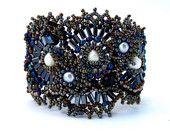 Beadwork bracelet, Black beaded bracelet cuff, seed bead bracelet, beaded jewelry, handmade, ooak
