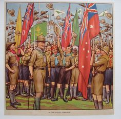 """British Children Vintage Boy Scout Poster AGE: c. lithograph, pre WWII CONDITION: A, Linen Mounted At the bottom is printed the number 56 """"The Scouts Jamboree"""". These English posters"""