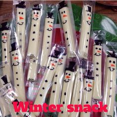 Cheese stick snowman. Great holiday party snack!