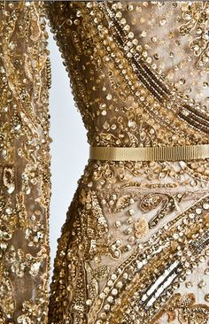 Haute Couture beaded and embroidered gold tone tulle over silk dress is superb