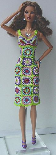 crocheted patchwork dress for 12-inch dolls ~ adorable!