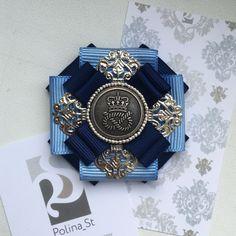 """Купить Брошь-орден """"Голубой"""" - голубой, синий, тёмно-синий, серебряный, подарок, подарок девушке"""