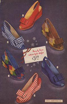 1940s shoes wedge sandals plaid diamond print gingham red blue brown color photo illustration print ad