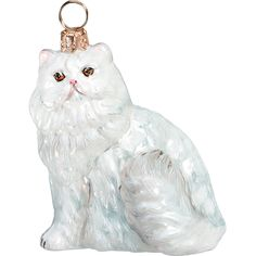 The Pet Set White Persian Cat Glass Christmas Ornament - Handcrafted in Europe by Joy to the World Collectibles