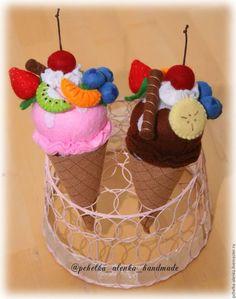 Еда ручной работы. Ярмарка Мастеров - ручная работа. Купить Мороженое-конструктор из фетра. Handmade. Кукольная еда, еда для кукол