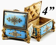 Antique TAHAN, Paris, French Kiln-fired Enamel Jewelry Casket, Box, Dore Bronze Frame