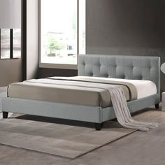 Baxton Studio Annette Gray Linen Modern Bed with Covered Buttons (Full Size Bed-Grey), Grey