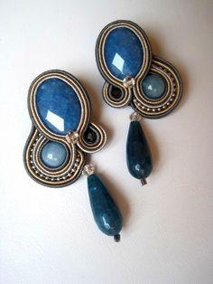Lapislazzuli & Swarovski Soutache Earrings by Svasou on Etsy, £115.00