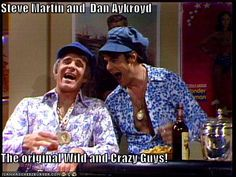 """bring on the foxeeeeessss! - Saturday Night Live - Steve Martin and Dan Akroyd as """"two wild and craaazy guys"""" Possibly one of my favorite SNL Sketches of all time! Steve Martin, Saturday Night Live, 1970 Style, The Blues Brothers, Baby Boomer, Up Book, Old Tv Shows, Me Tv, Classic Tv"""
