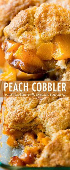 Perfectly sweetened and comforting with fresh peaches and a golden biscuit topping! Peach cobbler recipe on sallysbakingaddic. Fresh Peach Cobbler, Fruit Cobbler, Köstliche Desserts, Delicious Desserts, Yummy Food, Peach Cobblers, Biscuit Recipe, Peach Cobbler Recipes, Breakfast