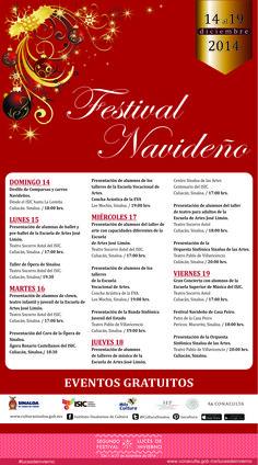 Programación general del Festival Navideño. Del 14 al 19 de diciembre de 2014. Eventos gratuitos. #lucesdeinvierno.
