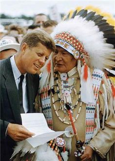 Two Chiefs - John F. Kennedy Fields Indian Request | Art Shay