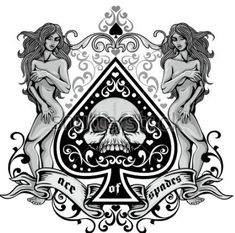 ace of spades with skull and antique girl, grunge vintage design t shirts Ace Of Spades Tattoo, Ace Tattoo, Half Sleeve Tattoos Forearm, Poker Tattoo, Saint George And The Dragon, Ace Card, Crown Tattoo Design, Playing Cards Art, Blackwork