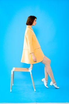 Mademoiselle Tara Spring-Summer 2013 #MAD #tarajarmon #SS13 #yellow #coat #blue #background