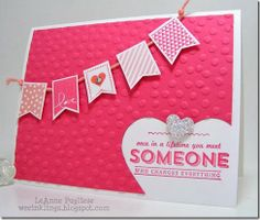 LeAnne Pugliese WeeInklings SAB 2014 Stampin' Up! Banner Blast & Banner punch, Decorative Dots embossing folder, See Ya Later Stampin Up Karten, Stampin Up Cards, Valentine Love Cards, Banner, Hand Stamped Cards, Cards For Friends, Copics, Cool Cards, Creative Cards