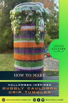 We have another awesome fall tumbler tutorial for y'all today! Laura of Serene Design Company is showing us how to make this amazing Halloween inspired bubbly cauldron drip tumbler. Her bubbly drips are so amazing! This Halloween inspired bubbly cauldron drip tumbler is so much fun. It's reminiscent of striped… Diy Tumblers, Sanding Block, Cotton Swab, Glitter Cups, Tumbler Designs, Halloween Coloring, Cauldron, Tumbler Cups