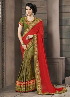 Fab Red And Green Jacquard Silk Designer Saree | Whats Up No. +918238311448  | http://www.ethnicnx.com/sarees/fab-red-and-green-jacquard-silk-designer-saree-7481