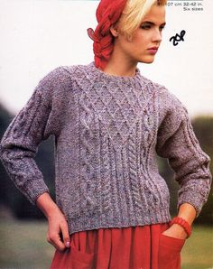 """womens aran sweater knitting pattern PDF chunky ladies cable jumper round neck 32-42"""" chunky bulky 12ply Instant Download by Hobohooks on Etsy"""