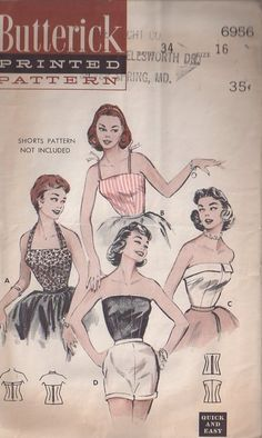 Womens Size 16 Pin-Up Rockabilly Blouses: Halter, Camisole, Strapless Vintage Butterick Pattern 6956 / bust 34 waist 28 / Factory Folds by AttysVintage on Etsy Vintage Dress Patterns, Clothing Patterns, Skirt Patterns, Coat Patterns, Blouse Patterns, 1950 Pinup, Retro Fashion, Vintage Fashion, Patron Vintage