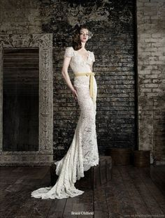 Very romantic lace wedding dress by Bruce Oldfield