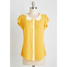 Scholastic Mid-length Short Sleeves Teacher's Petal Top ($45) ❤ liked on Polyvore featuring tops, yellow top, scalloped top, short sleeve tops, gold top and flutter sleeve top