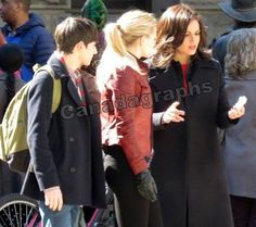 Jared Gilmore, Jen Morrison and Lana Parrilla film Once Upon A Time in downtown Vancouver on March 28, 2016.