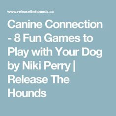Canine Connection - 8 Fun Games to Play with Your Dog by Niki Perry | Release The Hounds