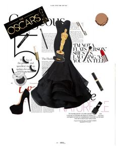 """""""If I was nominated for the Oscars..."""" by red-insanity-love on Polyvore featuring Christian Siriano, Urban Decay, Jouer, Tom Ford, MAC Cosmetics, Clarins and Smashbox"""