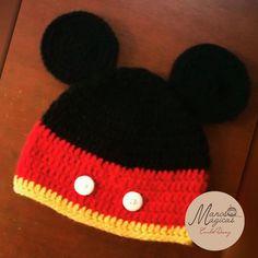 Crochet beanie hat Mickey Mouse.