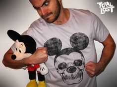 T shirt mickey gray black skull cute funny men goth scary. $19.00, via Etsy.