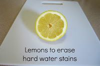 I finally got around to trying out the lemon try to erase hard water stains from the fixtures in my bath tub . I found this idea fr. Hard Water Stains, Success And Failure, Lime, Sisters, Limes, Hard Water Spots, Key Lime