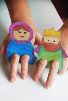 Cardboard Finger Puppets I can see the kids playing doop dop with this!!!
