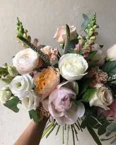 "B O T A N Y {floral studio} op Instagram: ""Prettiest pastel handtied bouquet with Festiva Maxima peonies. Spot that peach Campanella garden rose! We have these stunning garden roses…"" Garden Roses, Pretty Pastel, Botany, Veronica, Peonies, Floral Wreath, Bouquet, Peach, Wreaths"