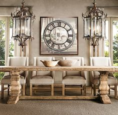Ideas for farmhouse dining table lighting restoration hardware Country Dining Rooms, Luxury Dining Room, Dining Room Design, Country Bathrooms, Chic Bathrooms, Bathroom Vanities, Dining Table Lighting, Dining Room Light Fixtures, Dining Room Table