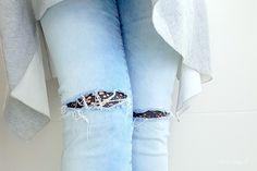 Eine Hose mit Spitze flicken ohne Nadel