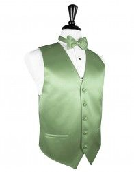 Sage green tuxedo vest and bow tie