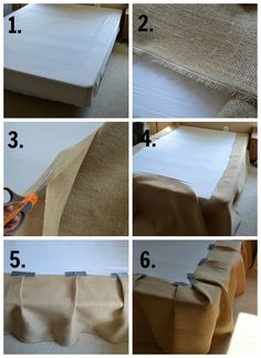 The 15 Minute 15 Dollar~NoSew Burlap Bedskirt! Haha duct tape works on just about anything!