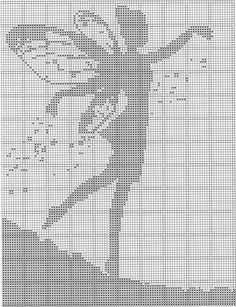Fairy Silhouette pattern by Daisy and Storm – knitting charts Graph Crochet, Filet Crochet Charts, Knitting Charts, Crochet Motif, Crochet Patterns, Crochet Borders, Crochet Squares, Crochet Lace, Cross Stitch Fairy