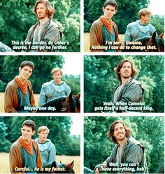 This is what I always loved about Gwaine...it's so much like how Merlin acted toward Arthur in the first episode (and every episode after). :)