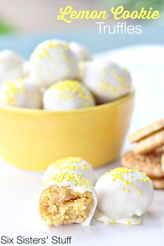 No Bake Lemon Cookie Truffles on SixSistersStuff.com - the easiest dessert you'll ever make!