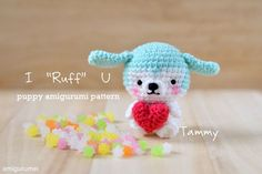 "Free puppy amigurumi pattern and tutorial of I ""Ruff"" U, Tammy the puppy holding a heart to greet you a very Happy Valentine's Day. – Page 2 of 3"