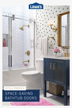 Make a small bathroom feel bigger with glass shower doors from Lowe's. Single Sink Bathroom Vanity, Small Bathroom, Mirror Bathroom, Bathroom Bin, Bathroom Ideas, Casa Kids, Upstairs Bathrooms, Glass Shower Doors, Bathroom Renos