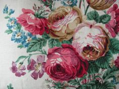 vintage Sanderson Floral Upholstery Fabric, Chintz Fabric, Fabric Decor, Vintage Floral Fabric, Retro Fabric, Vintage Fabrics, Love Wallpaper, Pattern Wallpaper, Sanderson Fabric