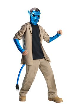 Fans of the epic science fiction film Avatar can transform into a character favorite. No need to be in Pandora to be Avatar's Jake Sully. If your mission is to be Jake the Avatar Jake Sully Deluxe Costume makes you the hero. Avatar Halloween Costume, Avatar Costumes, Clever Halloween Costumes, Boy Costumes, Super Hero Costumes, Adult Costumes, Party Costumes, Trendy Halloween, Halloween 2013